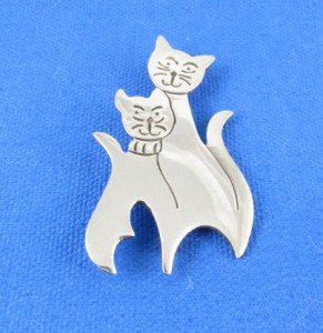 Silver cat brooch from Mexico - bought by my dad.