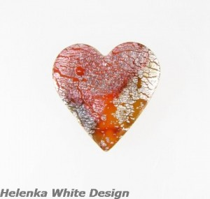 Dichroic polymer clay heart brooch - copyright Helen White