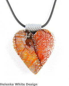 Heart Pendant - Polymer Clay Dichroic - copyright Helen White