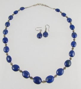Lapis Lazuli necklace with matching earrings - wedding present by my husband.