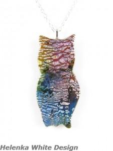 Owl Pendant - Polymer Clay Dichroic - copyright Helen White
