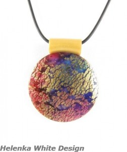 Round Polymer Clay Pendant - Dichroic Purple, Blue, Gold - copyright Helen White
