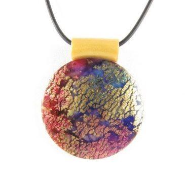 Round Polymer Clay Pendant - Dichroic Purple, Blue, Gold - copyright Helen White
