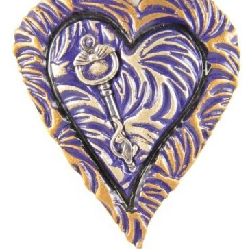 Polymer clay purple heart pendant with cat key - copyright Helen White