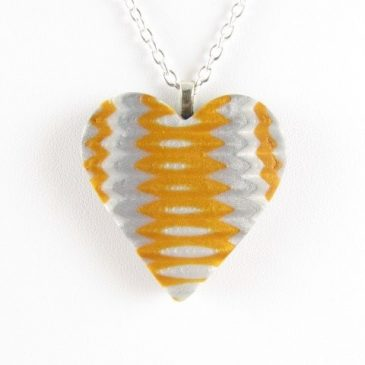 Polymer Clay Heart Pendant - gold, silver and pearl - copyright Helen White