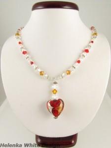 Swarovski necklace with lamp work heart pendant - copyright Helen White