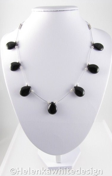 Agate necklace with plated silver beads. Commission.