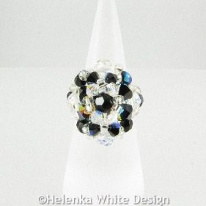 Swarovski crystal ring in black AB