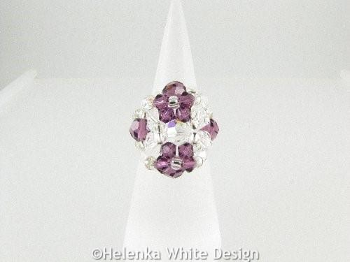 Swarovski crystal ring in Amethyst