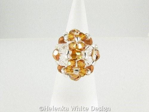 Swarovski crystal ring in copper - front