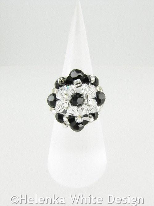 Swarovski crystal ring in black