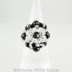 Swarovski crystal ring in black