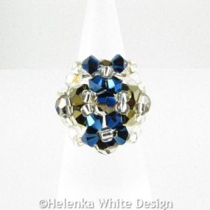 Swarovski crystal ring in metallic blue