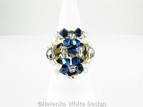 Swarovski crystal ring in metallic blue