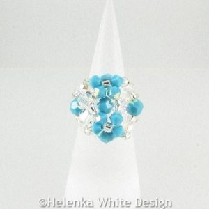 Swarovski crystal ring in turquoise 1
