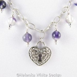 Heart necklace with Fluorite beads - detail