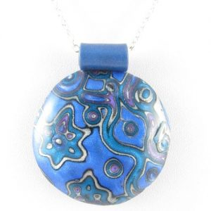 Large Mokume Gane pendant in blue - detail
