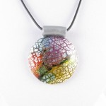 Colourful dichroic round pendant - detail