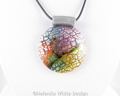 Colourful dichroic round pendant - detail