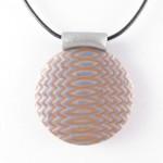 Mokume Gane pendant in silver - detail
