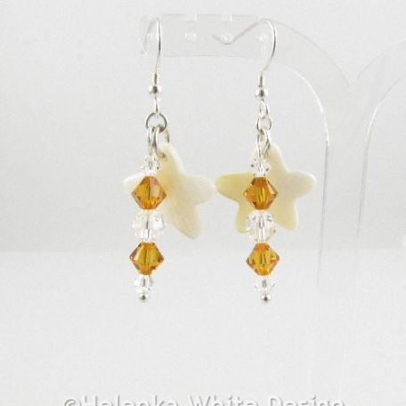 Mother-of-Pearl Swarovski earrings amber 2