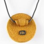 Round gold Klimt pendant - back