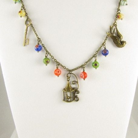 Bird necklace with Millefiori beads on bust