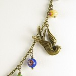 Bird necklace with Millefiori beads - detail