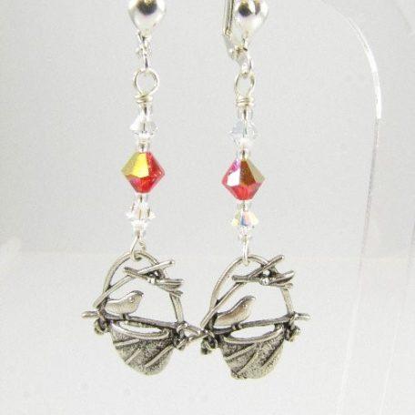 Bird in nest earrings in red