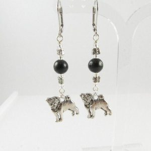 Pug earrings with black Obsidian beads