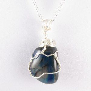 Blue stone pendant - detail