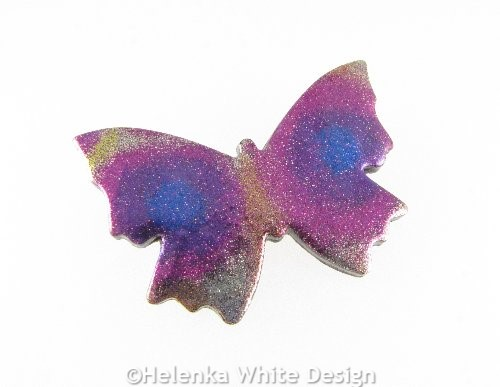 Polymer clay butterfly brooch 2 side