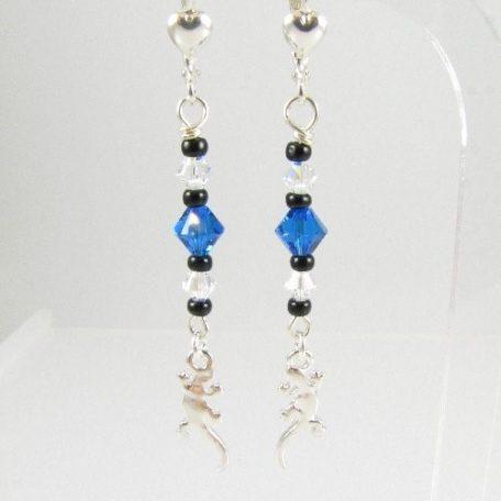 Gecko earrings in blue