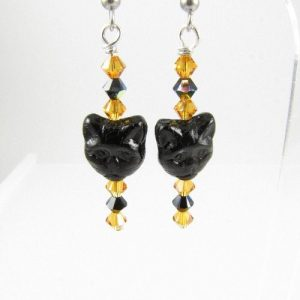 Cat face earrings 1 in topaz and black
