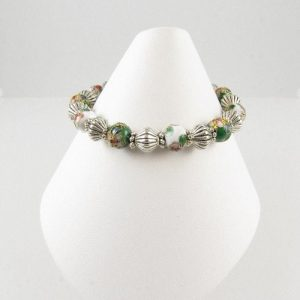Green & white Cloisonne bracelet on cone