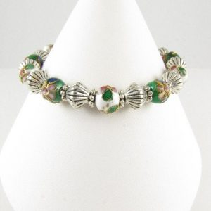 White and green Cloisonne bracelet on cone