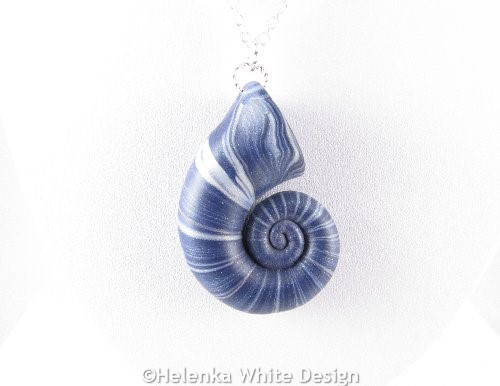Denim nautilus pendant detail 1