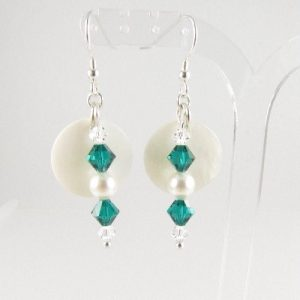Mother-of-Pearl emerald earrings 1