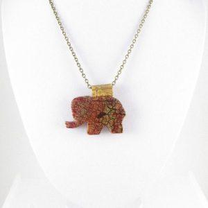 Polymer clay elephant pendant bust