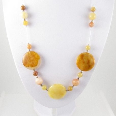 Golden Honey Jade necklace on bust
