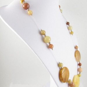 Golden Honey Jade necklace on bust - side view