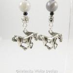Horse earrings with Botswana Agate - detail