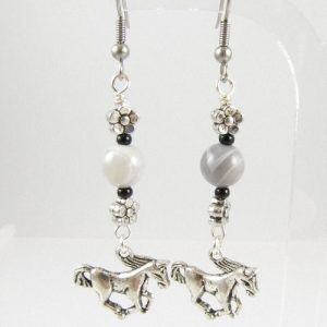 Horse earrings with Botswana Agate
