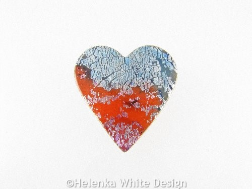 Polymer clay heart brooch 1