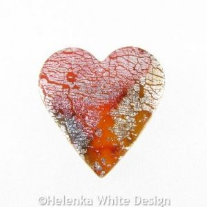 Polymer clay heart brooch 3