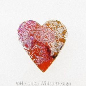 Polymer clay heart brooch 2