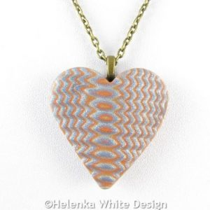 Silver and gold heart pendant - detail