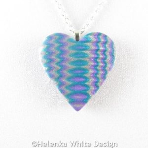 Turquoise and silver heart pendant 1 - detail