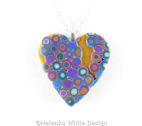 Klimt heart pendant - detail