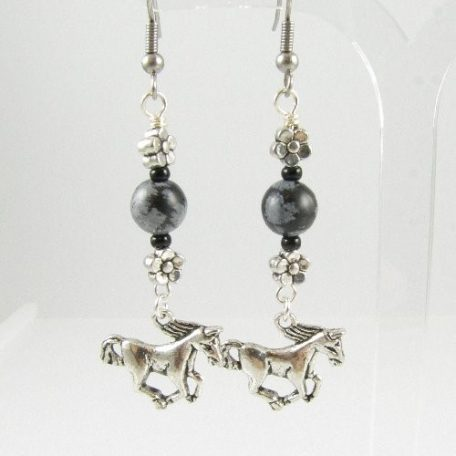 Horse earrings with Snowflake Obsidian